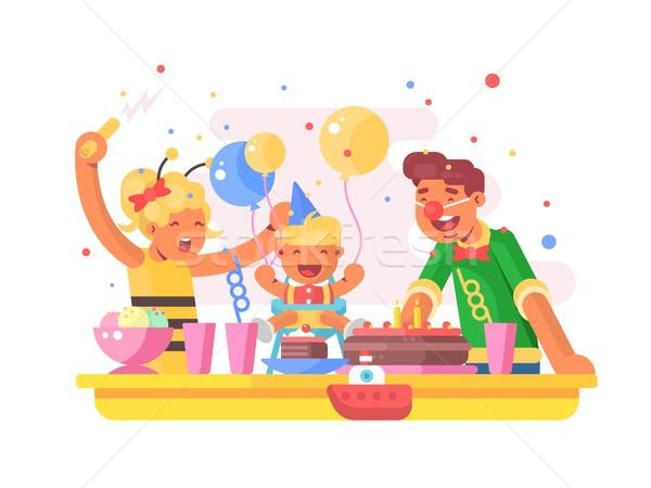 детей празднование дня рождения папу мамы сын именинный торт Сток-фото © jossdiim