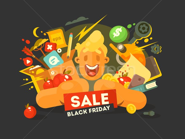 Black friday vente Guy Shopping réduction Photo stock © jossdiim