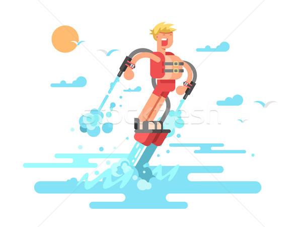 Hombre agua volar vacaciones extrema deporte Foto stock © jossdiim