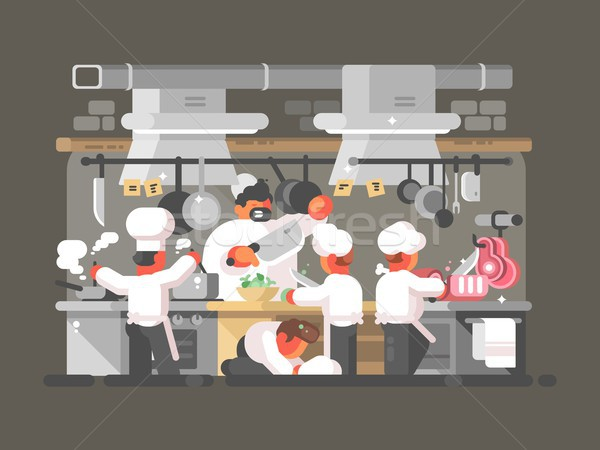 Kitchen of restaurant Stock photo © jossdiim