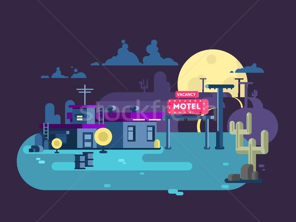 Motel nacht ontwerp hotel gebouw architectuur Stockfoto © jossdiim