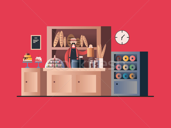 Panadería interior vendedor tienda tienda menor Foto stock © jossdiim