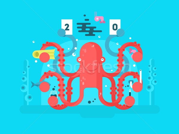 Octopus character design flat Stock photo © jossdiim