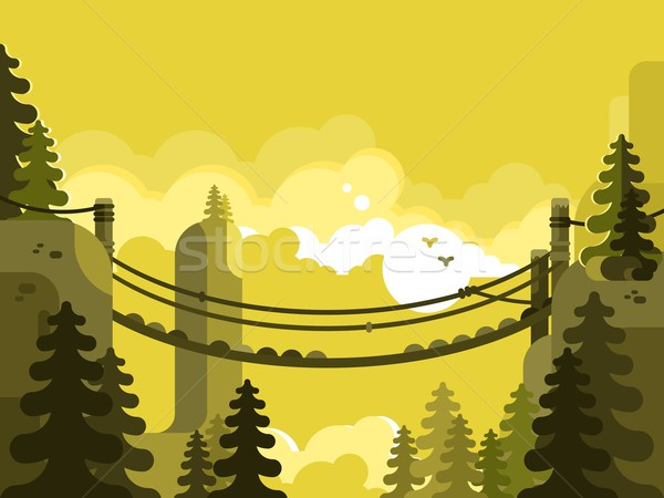 Suspension bridge design flat Stock photo © jossdiim