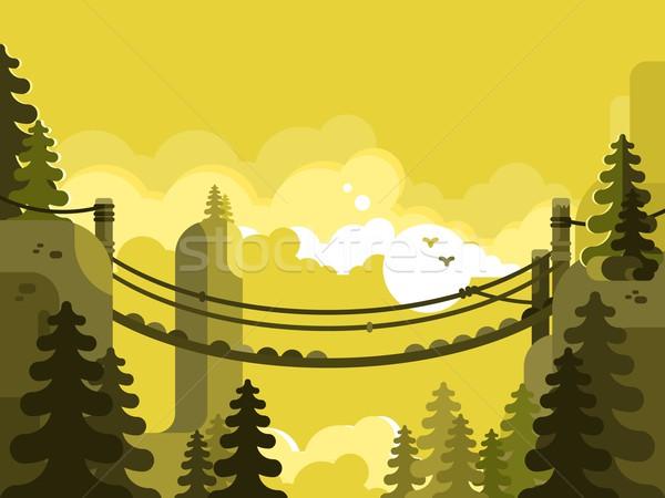 Puente colgante diseno naturaleza parque aventura viaje Foto stock © jossdiim