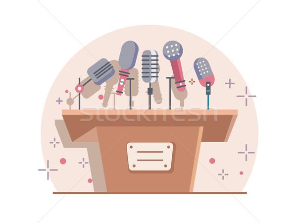 Tribune with microphones Stock photo © jossdiim