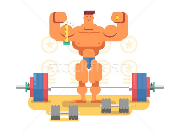 Kulturysta charakter człowiek mięśni silne sportu Zdjęcia stock © jossdiim