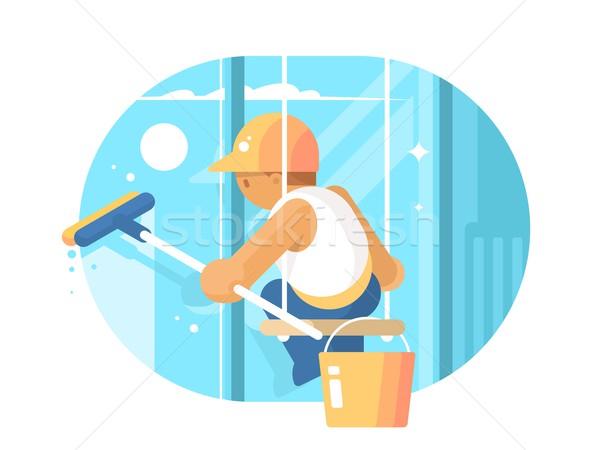 Limpador de janelas vidro enforcamento cordas vetor escritório Foto stock © jossdiim