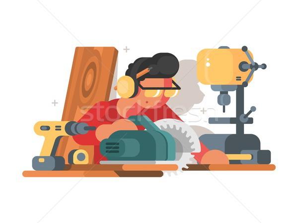Hombre lugar de trabajo carpintero madera herramienta diseno Foto stock © jossdiim