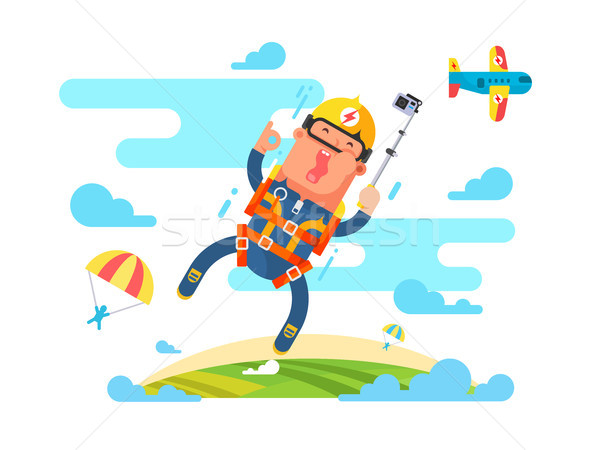 Skydiving sport springen parachute ontwerp parachutespringen Stockfoto © jossdiim