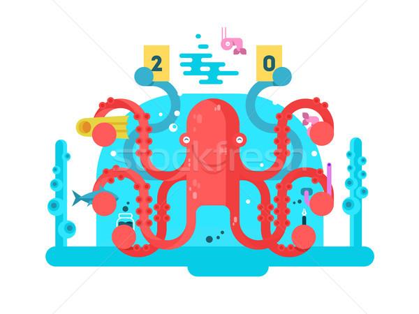 Poulpe personnage design nature animaux tentacule Photo stock © jossdiim