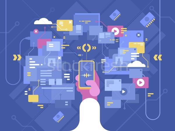 Zoekmachine internet vinden informatie netwerk dienst Stockfoto © jossdiim