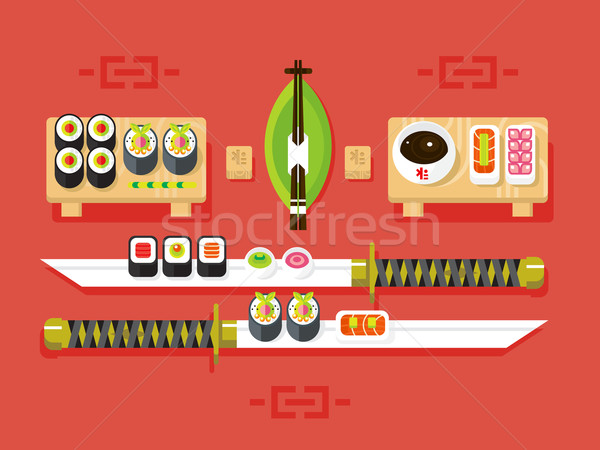 Japanese cuisine, sushi Stock photo © jossdiim