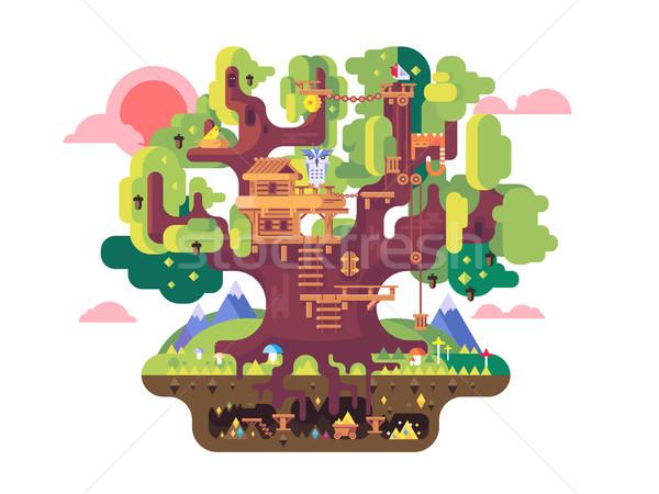 妖精 ツリー 家 幼年 建物 自然 ストックフォト © jossdiim