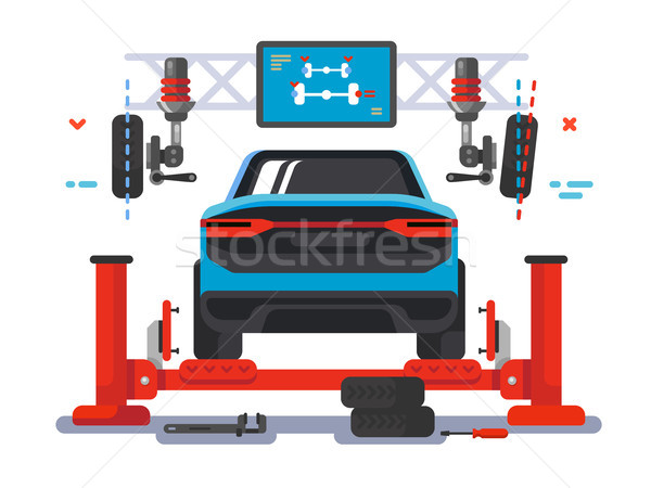 Lift car on auto service Stock photo © jossdiim