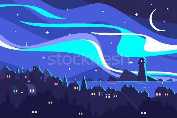 Tájkép északi fények éjszaka kikötő város Stock fotó © jossdiim