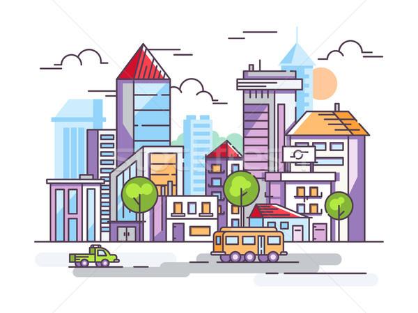 Straat lang huizen auto stedelijke infrastructuur Stockfoto © jossdiim