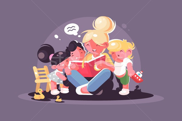 Mom reads fairy tale book for kids Stock photo © jossdiim