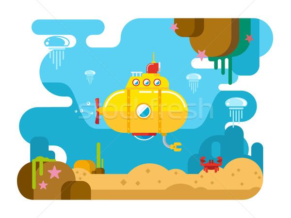 подводная лодка воды иллюстрация вектора природы пейзаж Сток-фото © jossdiim