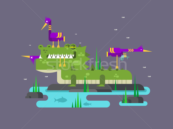 Crocodile character cartoon Stock photo © jossdiim