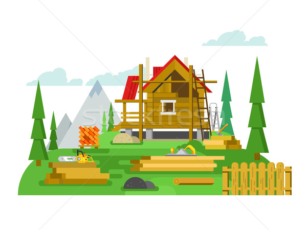 Huisje bouw ontwerp hout tool materiaal Stockfoto © jossdiim