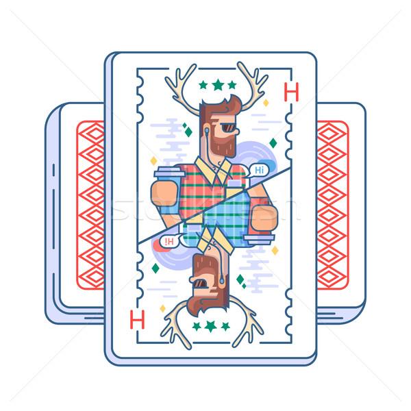 Hipszter játszik kártya fickó agancs szemüveg Stock fotó © jossdiim