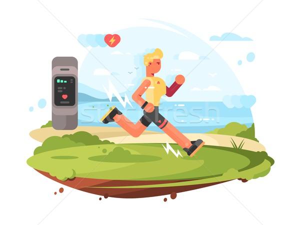 Runner scamper runs at coast Stock photo © jossdiim