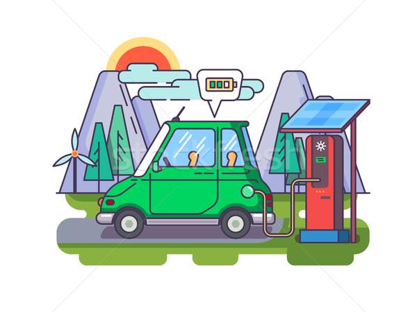 Ecológico moderna coche eléctrica vector naturaleza Foto stock © jossdiim