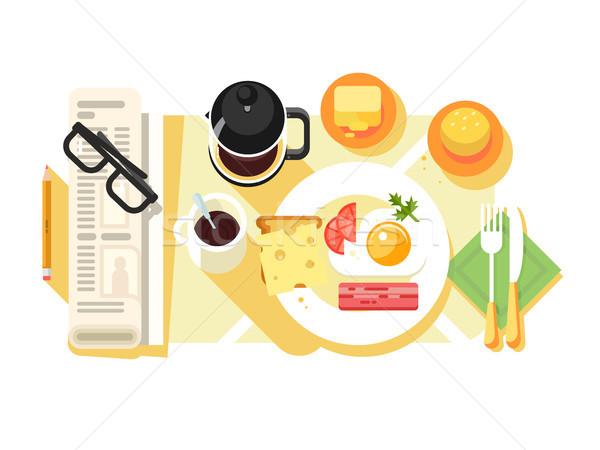 Reggeli sült tojások kávé terv étel Stock fotó © jossdiim