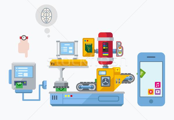 Mobiles app développement production usine illustration Photo stock © jossdiim