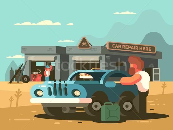Kant van de weg reparatie auto dienst auto garage Stockfoto © jossdiim
