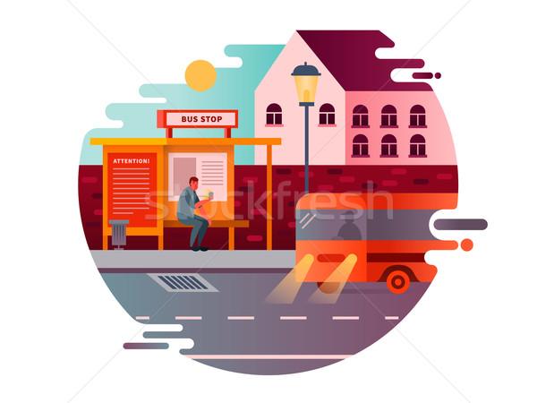 Bus stop design flat Stock photo © jossdiim