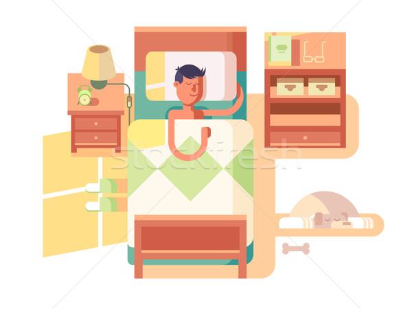 Hombre sueno cama sueno noche dormitorio Foto stock © jossdiim