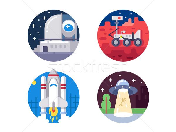 Pixel perfect space icons set Stock photo © jossdiim