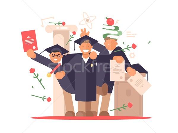 Diákok boldog érettségi szertartás csoport vektor Stock fotó © jossdiim