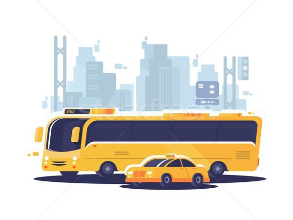 Stad openbaar vervoer bus taxi auto gebouw Stockfoto © jossdiim