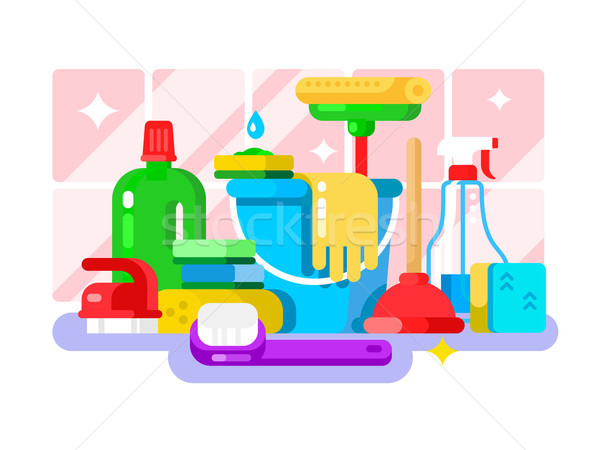 Cleaning tools and detergent in bottle flat design Stock photo © jossdiim