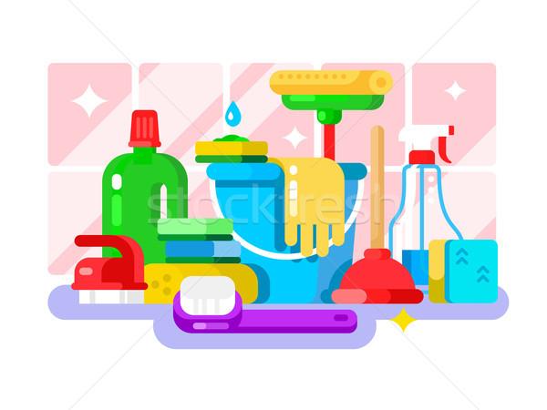 очистки инструменты моющее средство бутылку дизайна губки Сток-фото © jossdiim