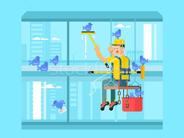 Industrial montañismo trabajador negocios aire libre alto Foto stock © jossdiim