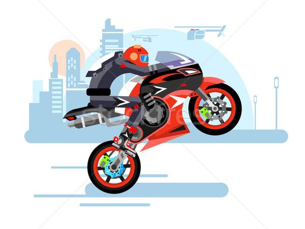 Motorfiets een wiel persoon helm fiets Stockfoto © jossdiim