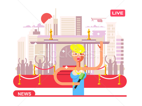 Live nieuws verslaggever microfoon omroep televisie Stockfoto © jossdiim