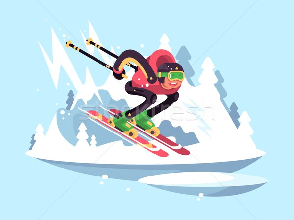 Man skiing in winter Stock photo © jossdiim