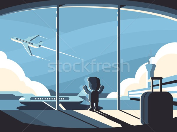 Little boy in airport terminal Stock photo © jossdiim