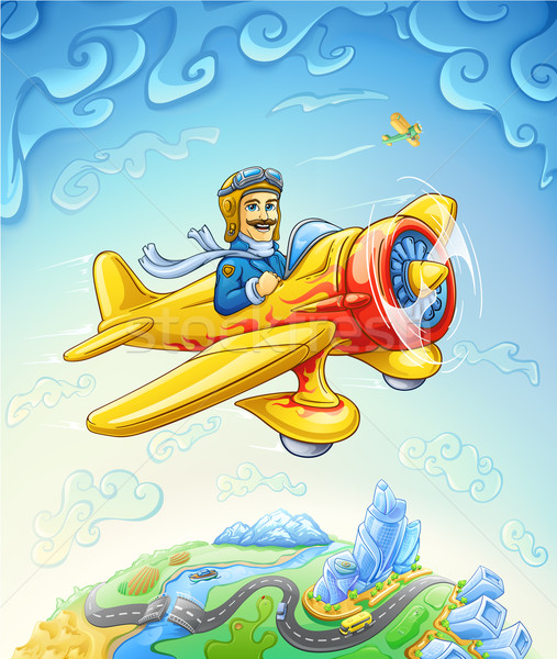 Cartoon plane with pilot flying over the earth Stock photo © jossdiim