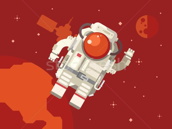 Astronot uzay boşluğu ay takım elbise karanlık uçmak Stok fotoğraf © jossdiim