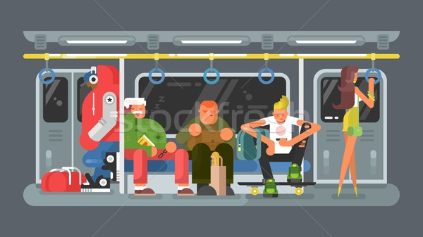 Subway with people flat design Stock photo © jossdiim