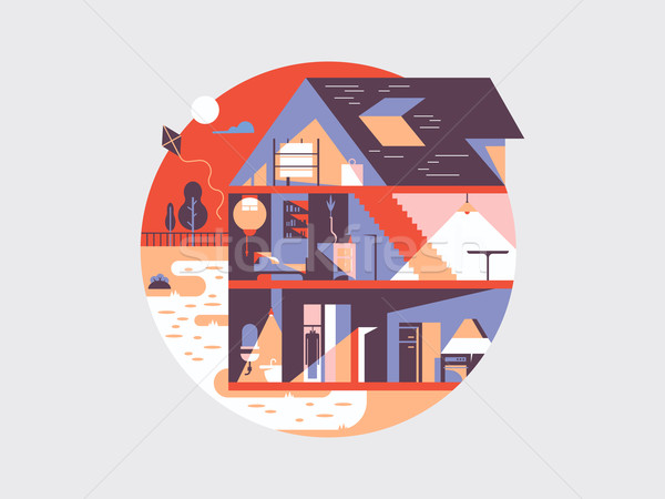 Huis planning illustratie vector home bouw Stockfoto © jossdiim