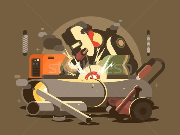 Man welder in mask Stock photo © jossdiim