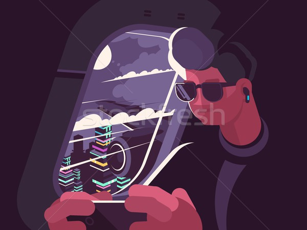 Man in plane near porthole Stock photo © jossdiim