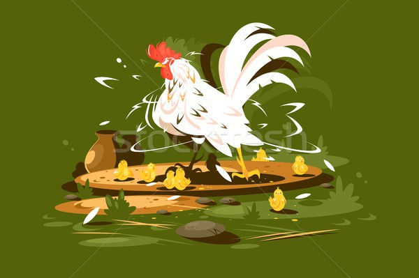 Rooster with yellow chickens Stock photo © jossdiim